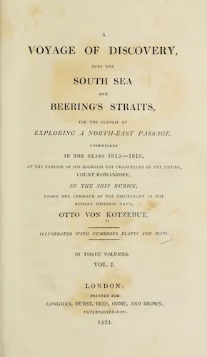 Aquatint & Lithography - A Voyage of Discovery, into the South Sea and Beering's Straits Vol. 1