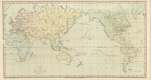 A Voyage Round the World - Chart of the World Shewing the Track of the Neva (1814)