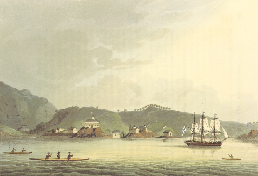 A Voyage Round the World - Harbour of St. Paul in the Island of Cadiack (1814)