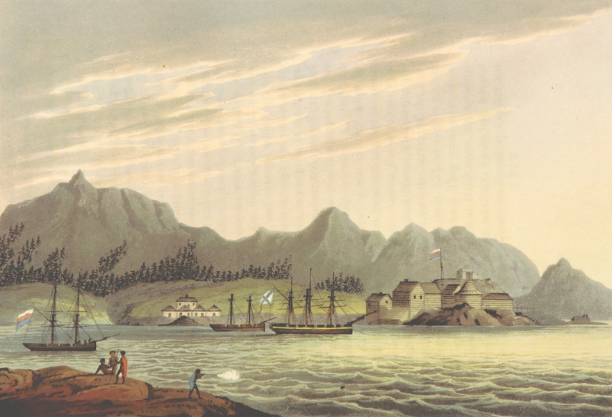 A Voyage Round the World - Harbour of New Archangel in Sitca or Norfolk Sound (1814)