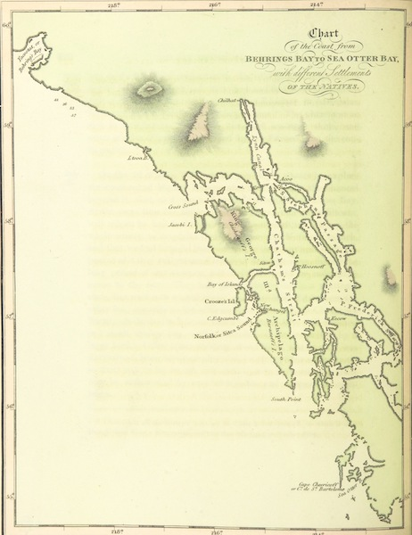 A Voyage Round the World - Chart of the Coast from Behring's Bay to Sea Otter Bay (1814)