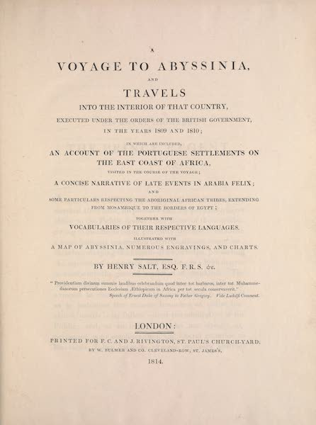 A Voyage to Abyssinia - Title Page (1814)