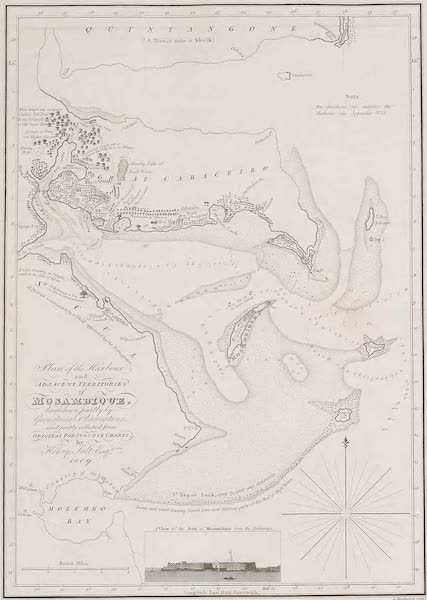 A Voyage to Abyssinia - Plan of the Harbour and Adjacent Territories of Mosambique (1814)