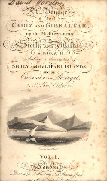 A Voyage to Cadiz and Gibraltar Vol. 1 - Title Page - View on the Coast off Tindari [Vignette] (1815)