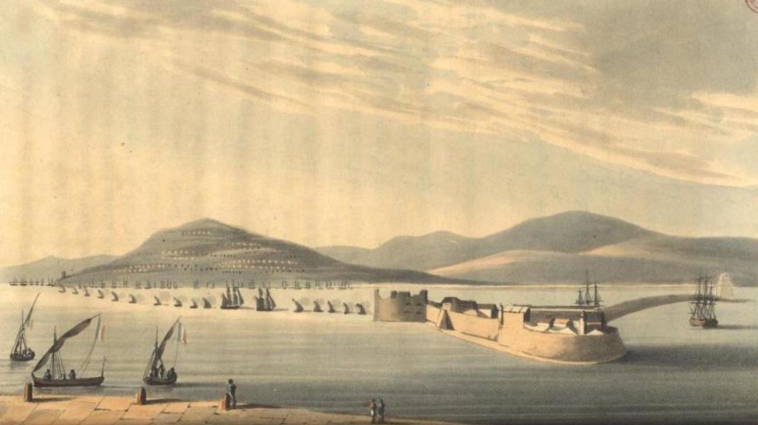 A Voyage to Cadiz and Gibraltar Vol. 2 - View of Murat's Camp & Flotilla in Calabria, with a division of British Gun Boats standing across to attack (1815)