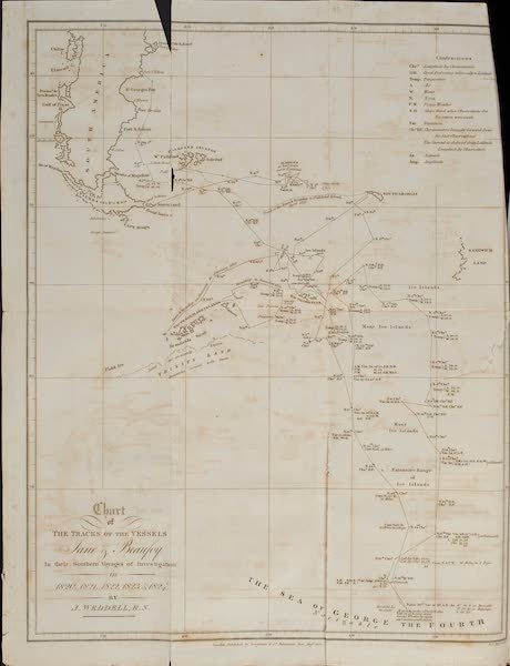 A Voyage Towards the South Pole - Chart of the Tracks of the Vessels Jane and Beaufoy (1827)