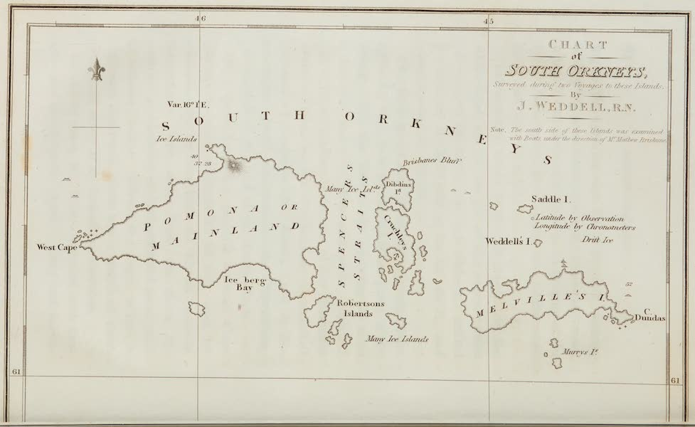 A Voyage Towards the South Pole - Chart of South Orkney's (1827)