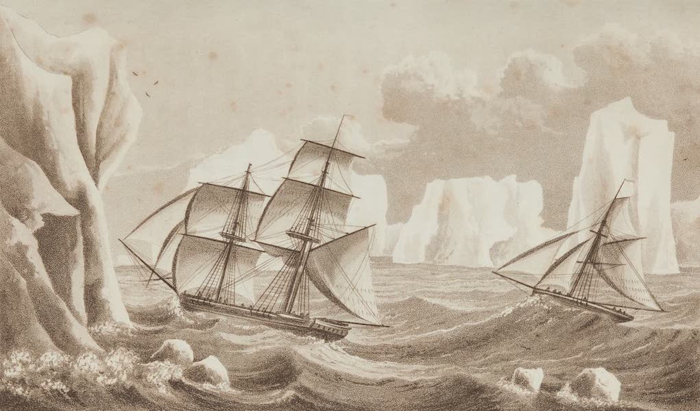 A Voyage Towards the South Pole - Brig Jane and Cutter Beaufoy in Latitude 68 South Passing to the Southward through a Chain of Ice Islands - Feb, 1823 (1827)