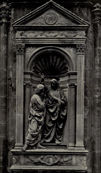 A Wanderer in Florence - Christ and S. Thomas. Verrocchio, in a niche by Donatello and Michelozzo in the wall of Or San Michele (1912)