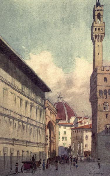 A Wanderer in Florence - The Loggia de' Lanzi, the Duomo, and the Palazzo Vecchio, from the Portico of the Uffizi (1912)