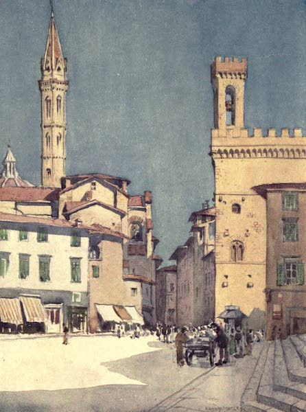 A Wanderer in Florence - The Badia and the Bargello, from the Piazza S. Firenze (1912)