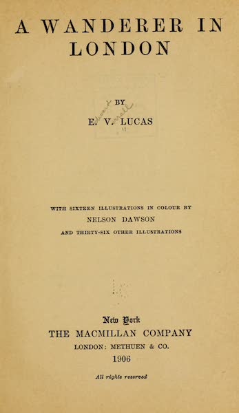 A Wanderer in London - Title Page (1906)