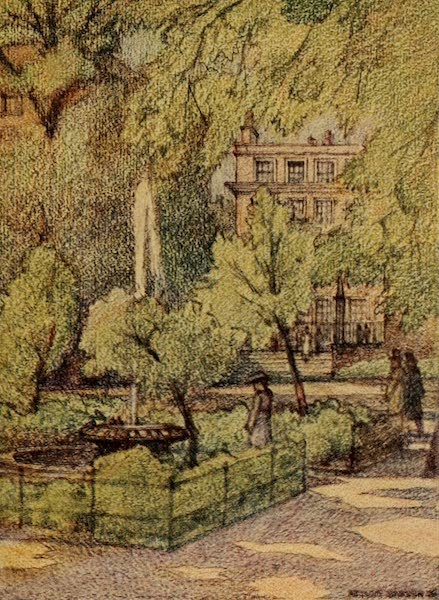 A Wanderer in London - In the Temple Gardens, Fountain Court (1906)