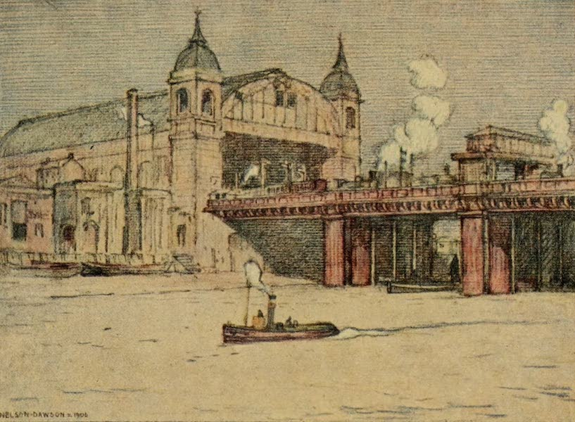 A Wanderer in London - Cannon Street Station from the River (1906)
