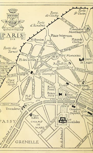 A Wanderer in Paris - Map. From a Drawing by B. C. Boulter (1909)