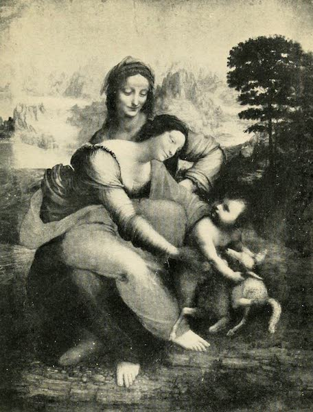 A Wanderer in Paris - Sainte Anne, La Vierge, et l'Enfant Jésus. Leonardo da Vinci. (Louvre) From a Photograph by Neurdein (1909)
