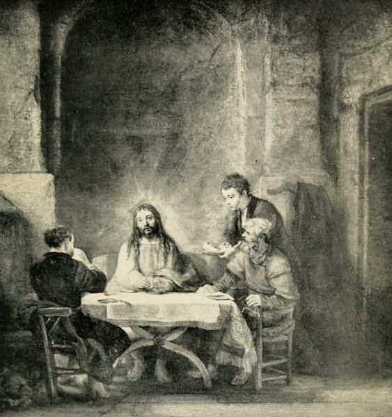 A Wanderer in Paris - Les Pèlerins d'Emmaüs. Rembrandt (Louvre) From a Photograph by Neurdein (1909)