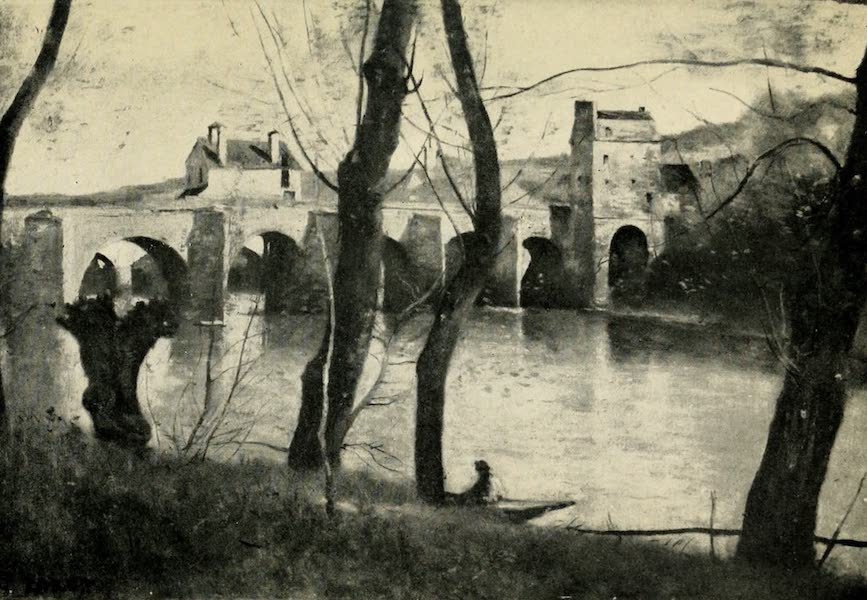 A Wanderer in Paris - Le Pont de Mantes. Corot (Louvre, Moreau Collection) From a Photograph by Neurdein (1909)