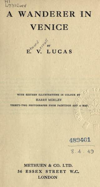 A Wanderer in Venice - Title Page (1914)