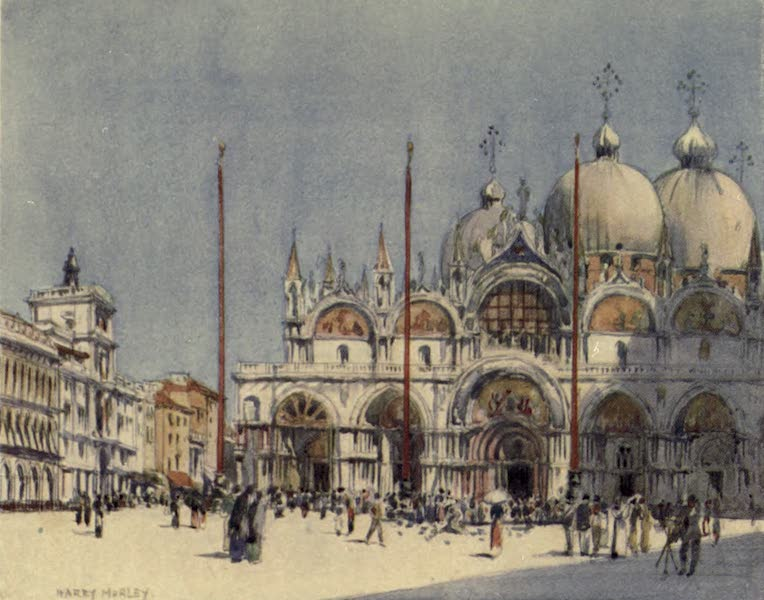 A Wanderer in Venice - S. Mark's from the Piazza. The Merceria Clock on the Left (1914)