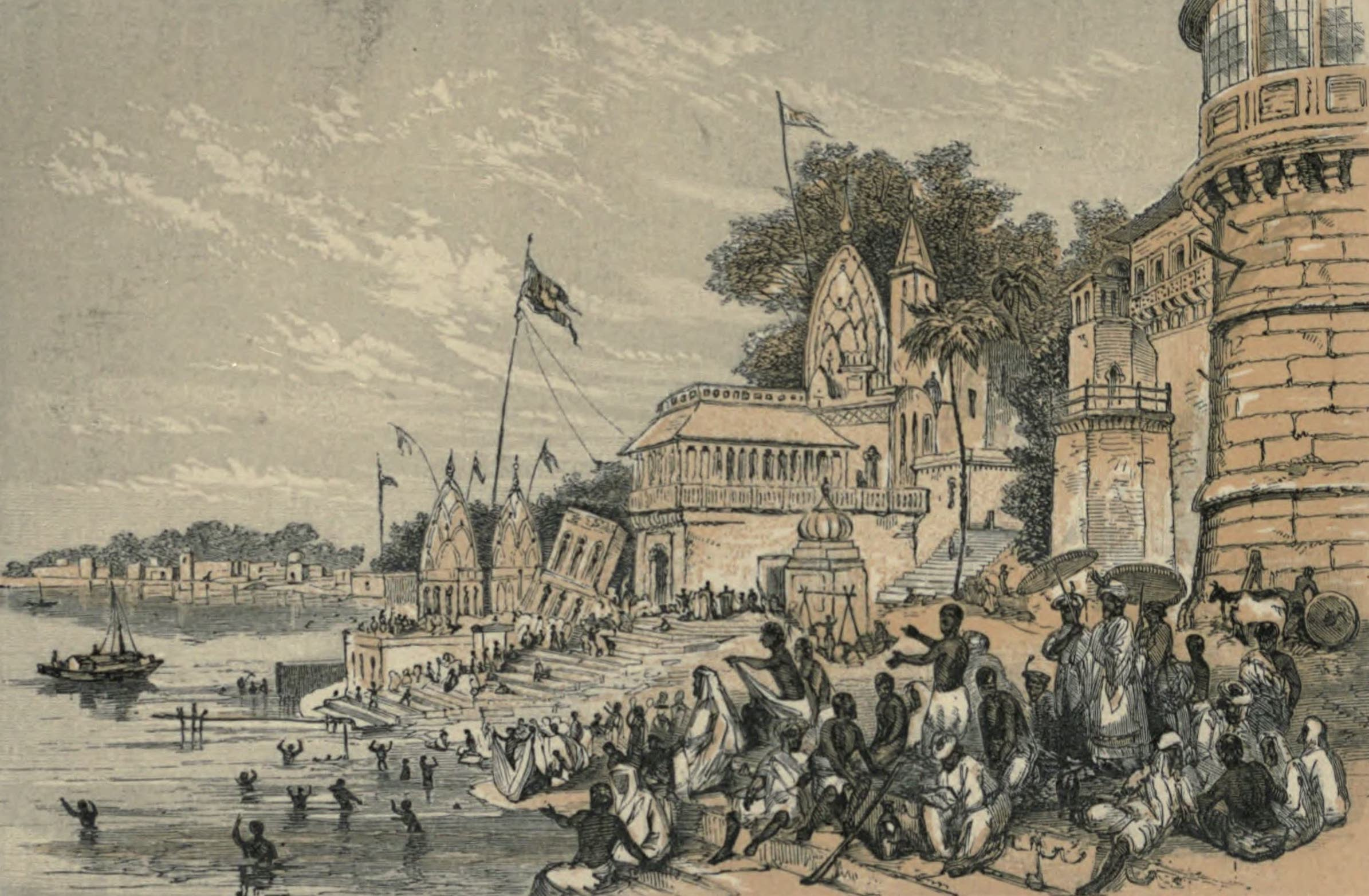 A Woman's Journey Round the World - Hindoo Ablutions at Benares (1852)