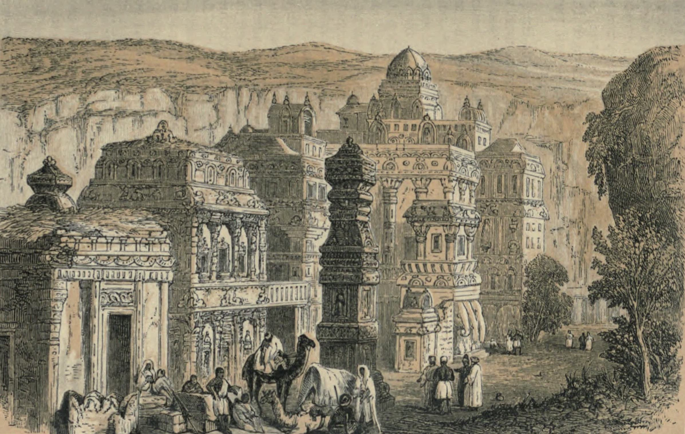 A Woman's Journey Round the World - The Rock Temples of Elora (1852)