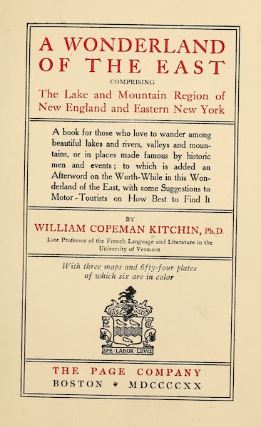 A Wonderland of the East - Title Page (1920)
