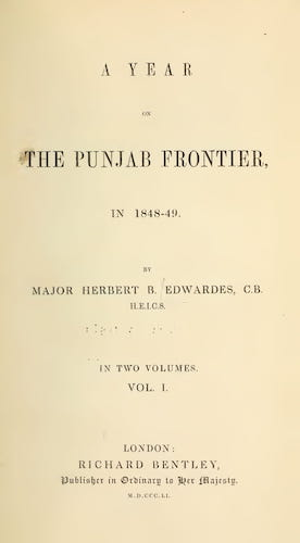 A Year on the Punjab Frontier Vol. 1 (1851)