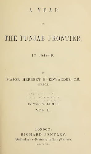 A Year on the Punjab Frontier Vol. 2 (1851)