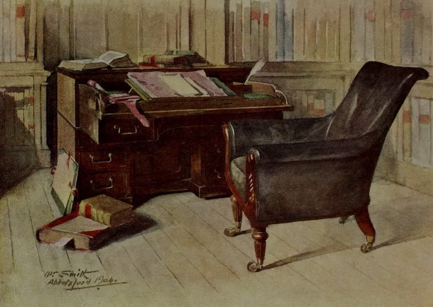 Abbotsford Painted and Described - Sir Walter Scott's Desk and 'Elbow-chair' in the Study, Abbotsford (1905)