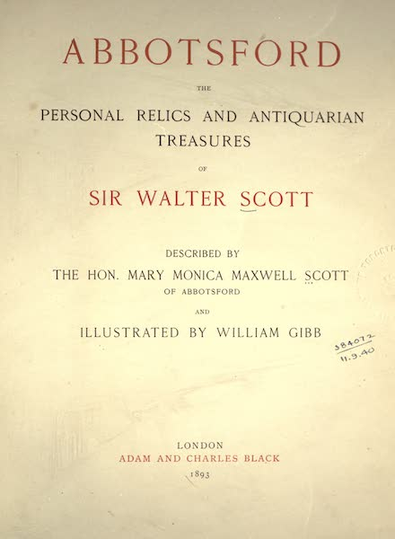 Abbotsford; The Personal Relics and Antiquarian Treasures of Sir Walter Scott - Title Page (1893)