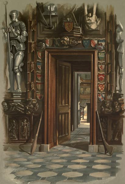 Abbotsford; The Personal Relics and Antiquarian Treasures of Sir Walter Scott - Hall Door Looking towards Study and Showing Corner of Desk (1893)