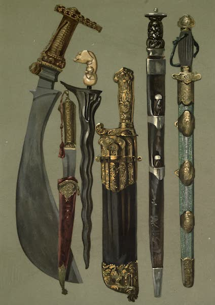Abbotsford; The Personal Relics and Antiquarian Treasures of Sir Walter Scott - A Polygar's Knife. A Persian Dagger and Sheath. A Malay Kris. A Case of Hunting-knives, Or Couteaux de chasse. Robroy's Dirk. A Tartar Sword in Brass-mounted Shagreen Scabbard (1893)