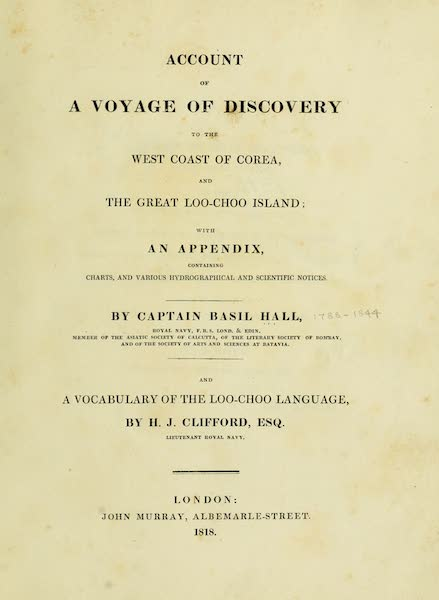 Account of a Voyage of discovery to the West Coast of Corea - Title Page (1818)