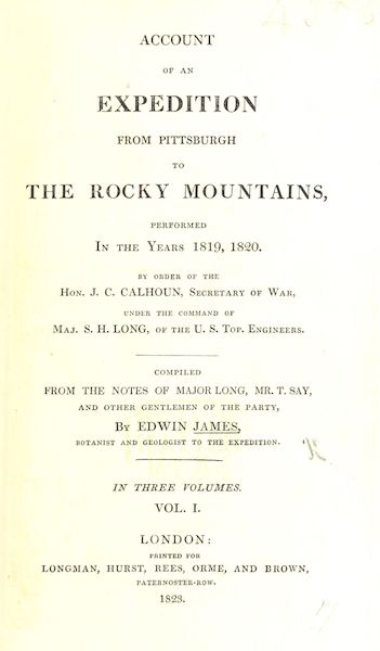 Account of an Expedition from Pittsburgh to the Rocky Mountains Vol. 1 - Title Page (1823)