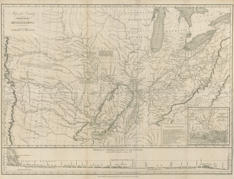 Account of an Expedition from Pittsburgh to the Rocky Mountains Vol. 1 - Map of the Country Drained by the Mississippi (1823)