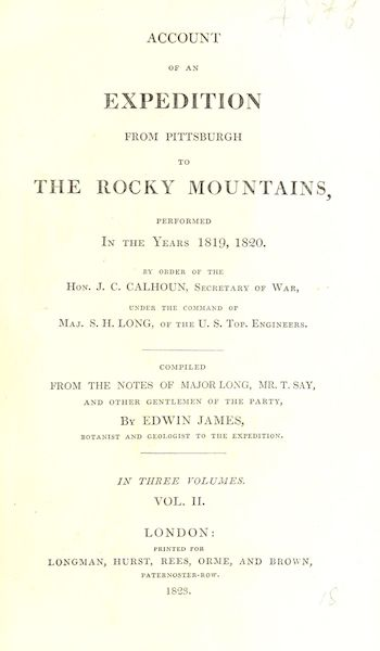 Account of an Expedition from Pittsburgh to the Rocky Mountains Vol. 2 - Title Page (1823)