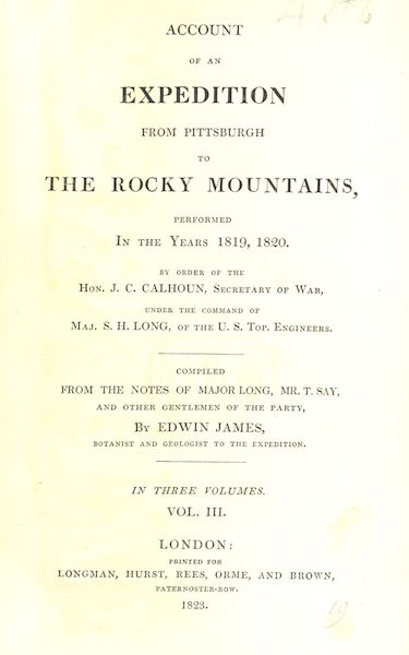 Account of an Expedition from Pittsburgh to the Rocky Mountains Vol. 3 - Title Page (1823)