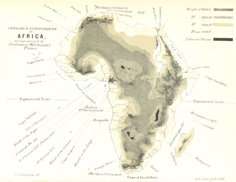 Africa and the American Flag - Probable Configuration of Africa (1854)