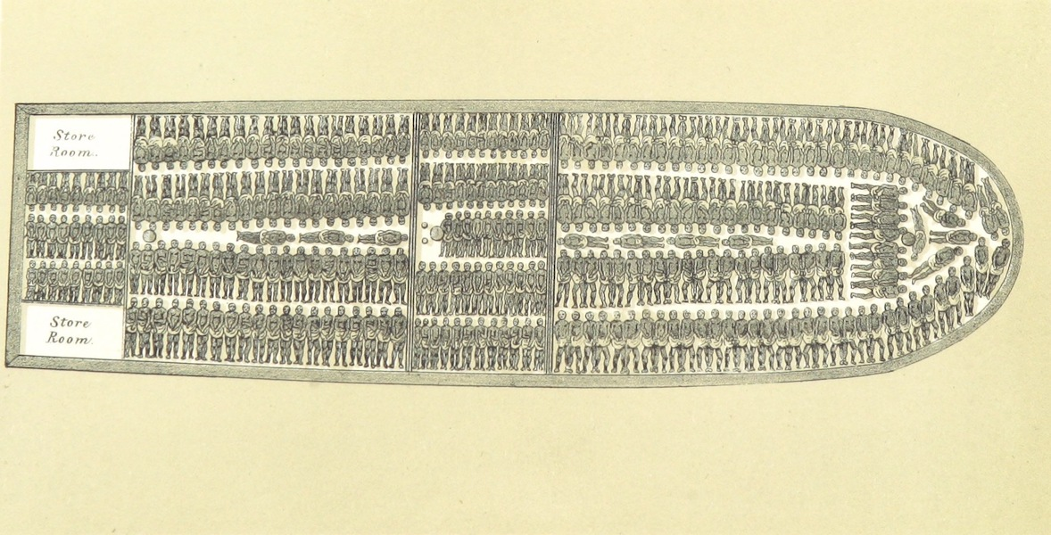 Africa and the American Flag - A Slave Ship (1854)