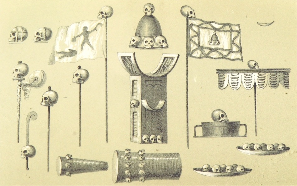 Africa and the American Flag - Dahomey, Skull Ornaments and Banners (1854)