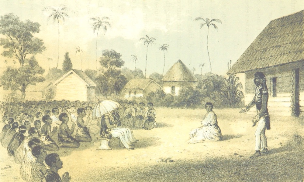 Africa and the American Flag - Audience to the Perry's Officers by the Queen Of Ambrizette (1854)