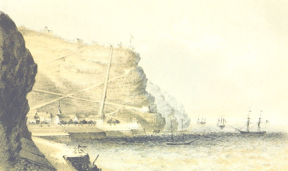 Africa and the American Flag - Shore and Roadstead of Jamestown, St. Helena (1854)