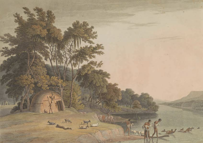 African Scenery and Animals - A Korah Hottentot Village on the Left Bank of the Orange River (1804)