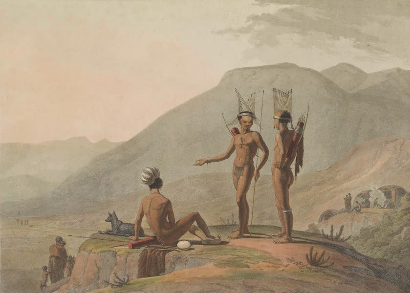 African Scenery and Animals - Bush-Men Hottentots Armed for an Expedition (1804)