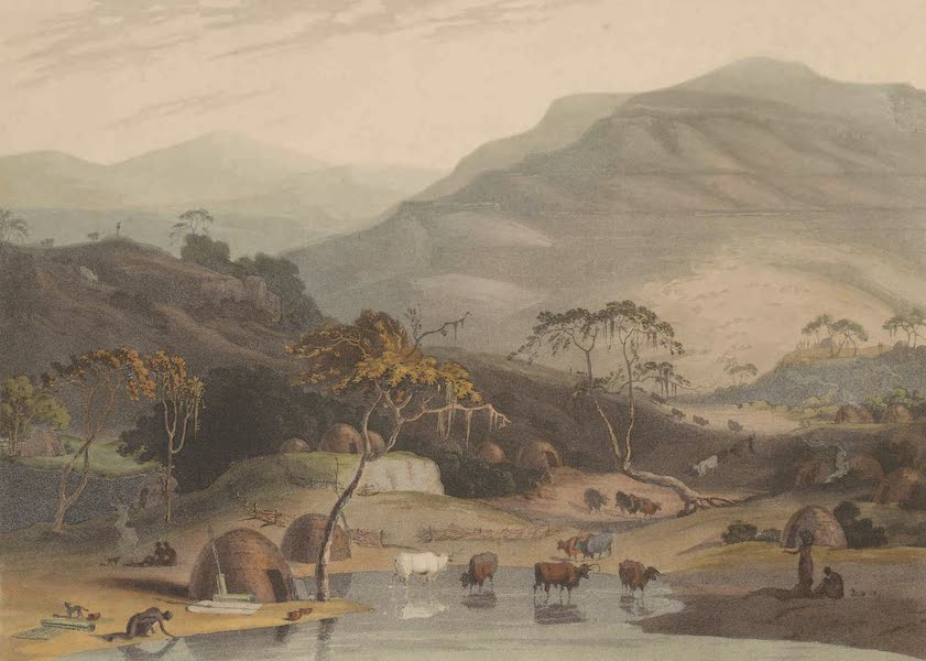 African Scenery and Animals - A Kaffer Village (1804)