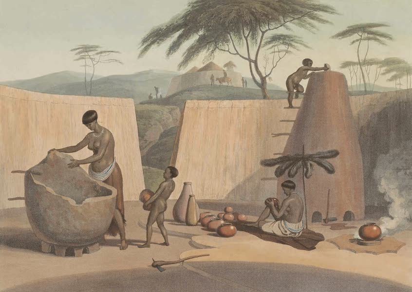 African Scenery and Animals - Booshuana Woman Manufacturing Earthen Ware (1804)