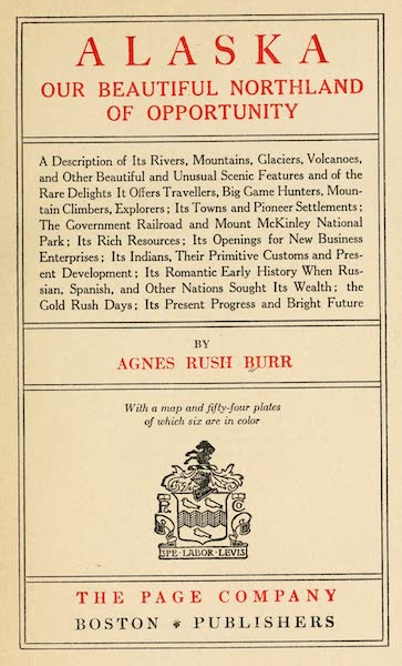 Alaska, Our Beautiful Northland of Opportunity - Title Page (1919)