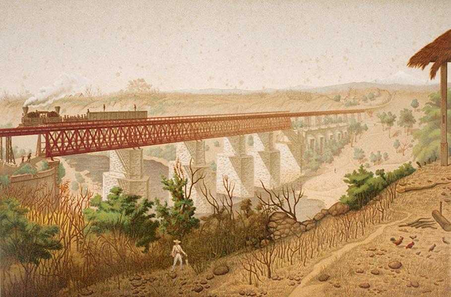 Album del Ferro-Carril Mexicano - Puente de la Soledad. Tomado desde el Hospital (1877)