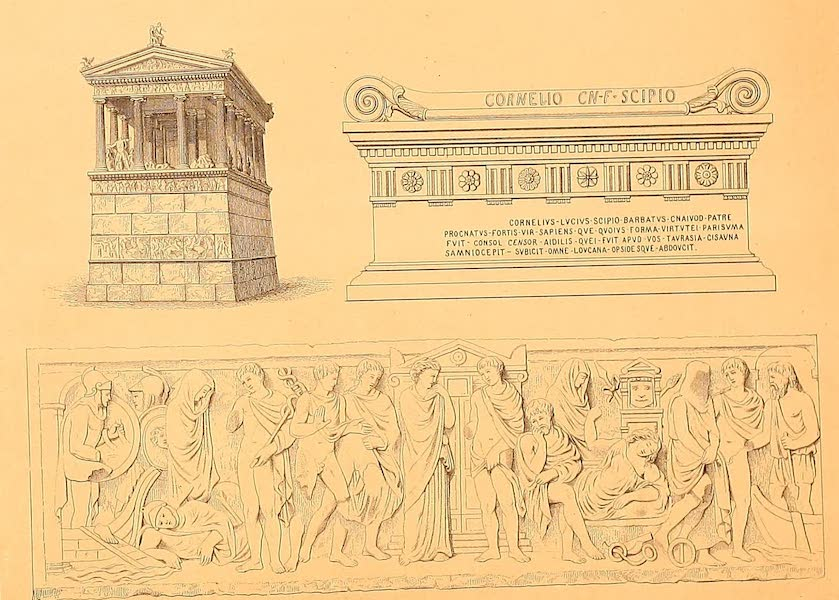 Album des classischen Alterthums - Grieschisches Grabmonument, Sarkophag, Relief-Bild eines Sarkophags (1870)